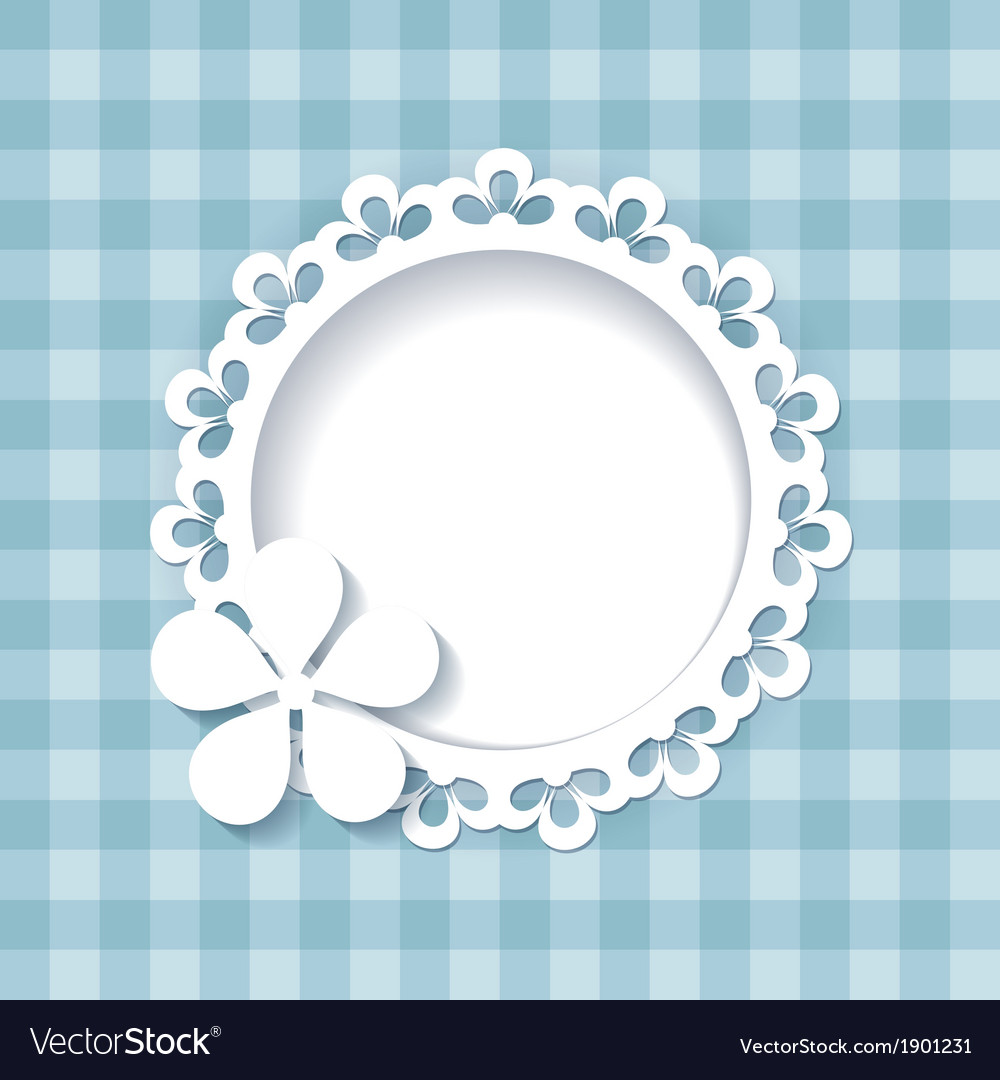 Floral frame on the blue pattern