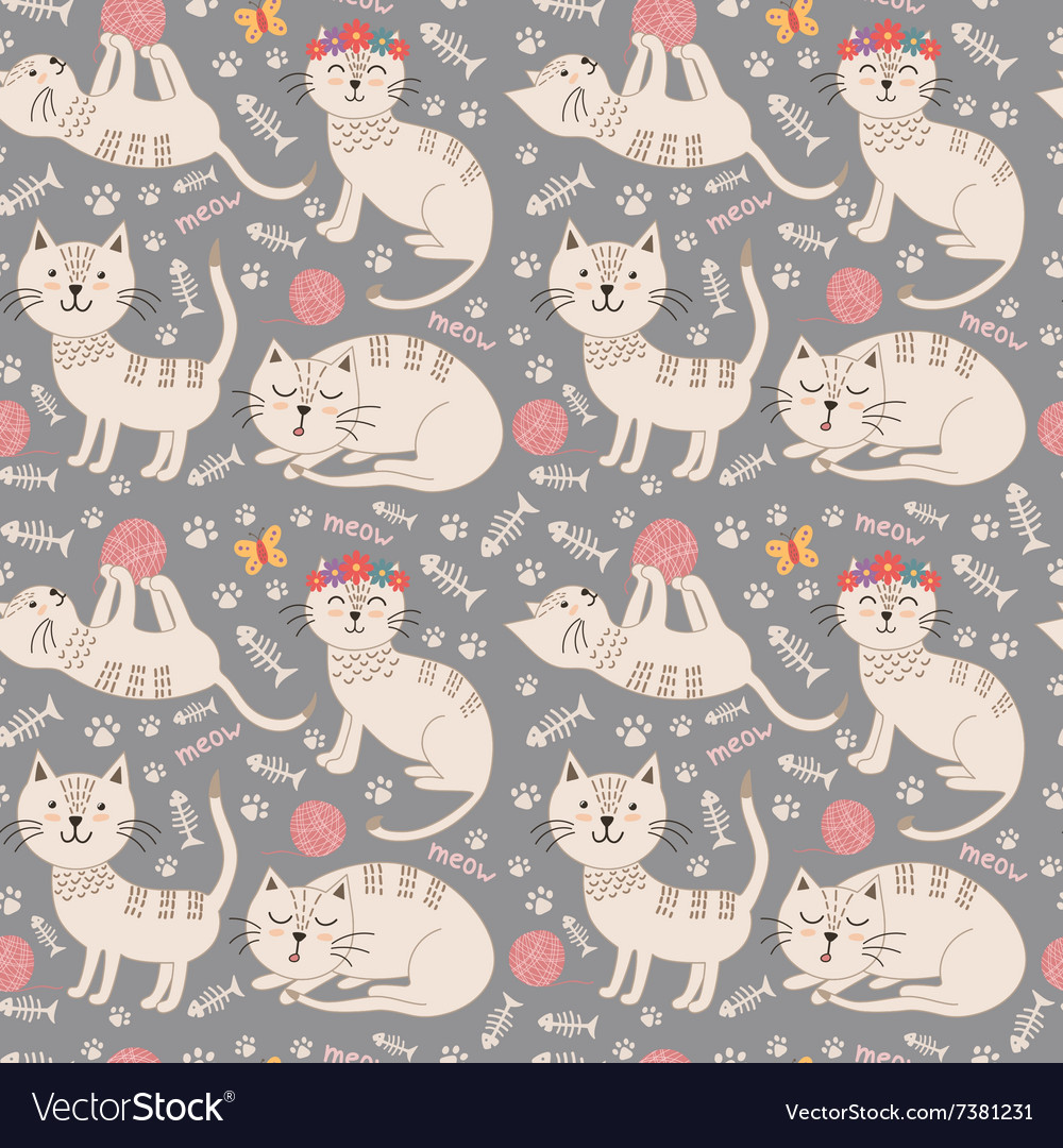 Funny seamless pattern with cute cats