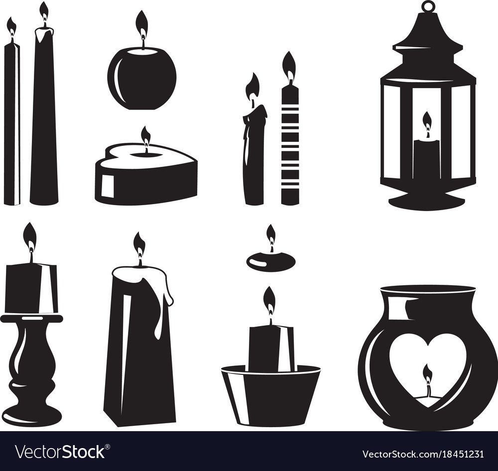Monochrome symbols of candles for birthday