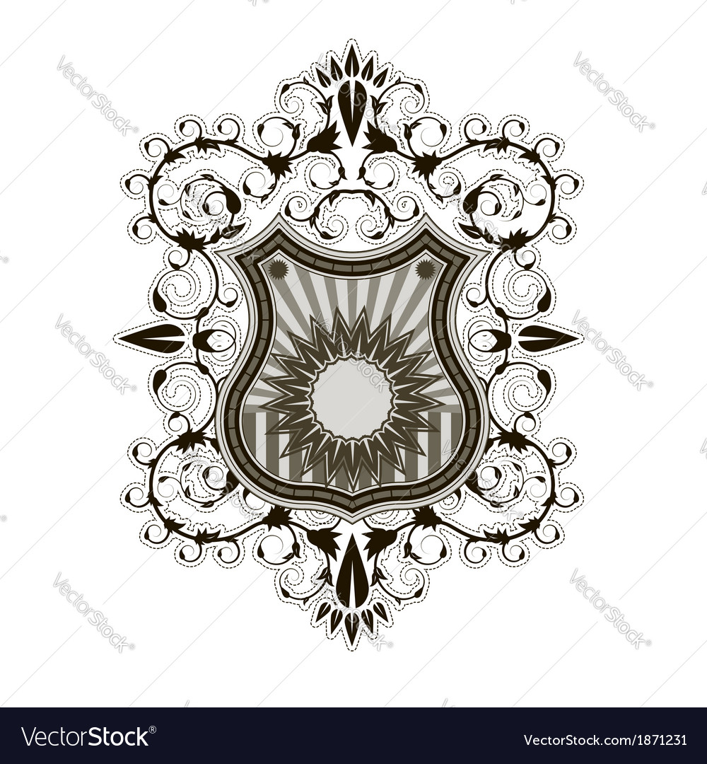 ornate shield label design template royalty free vector