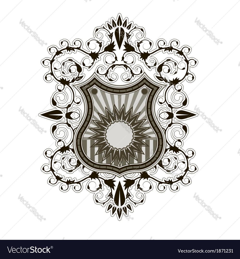 Ornate Shield Label Design Template Vector Image