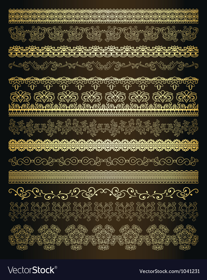 Set of vintage lines vector image