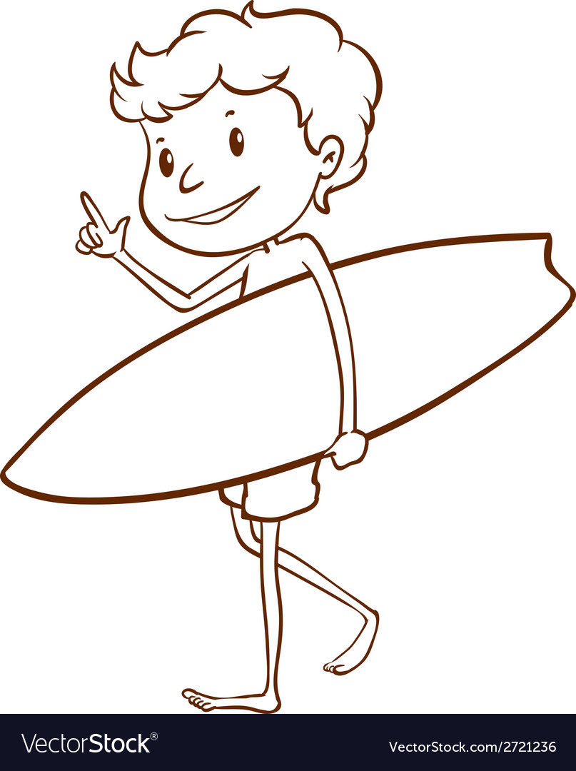 A simple sketch of a male surfer