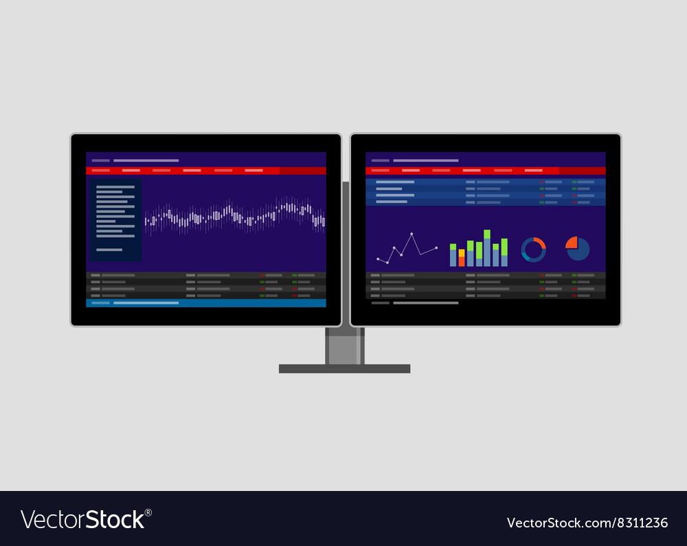 Dual two monitor stock transaction terminal