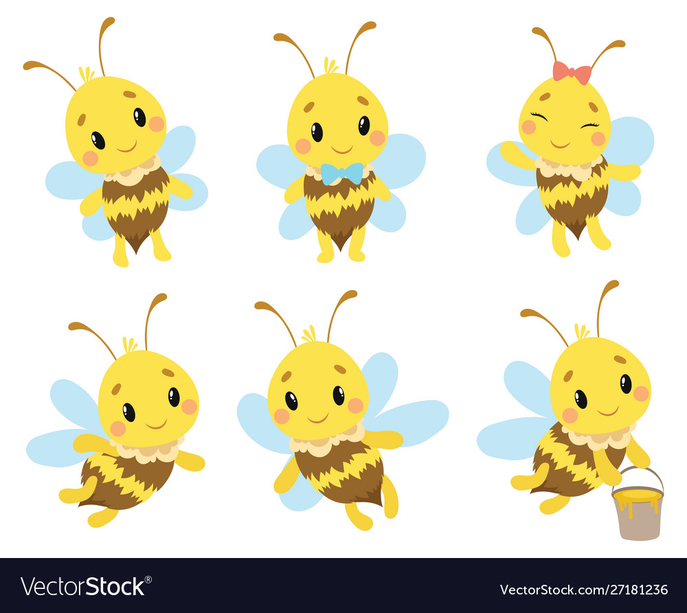 Set cartoon bees a collection cute bees