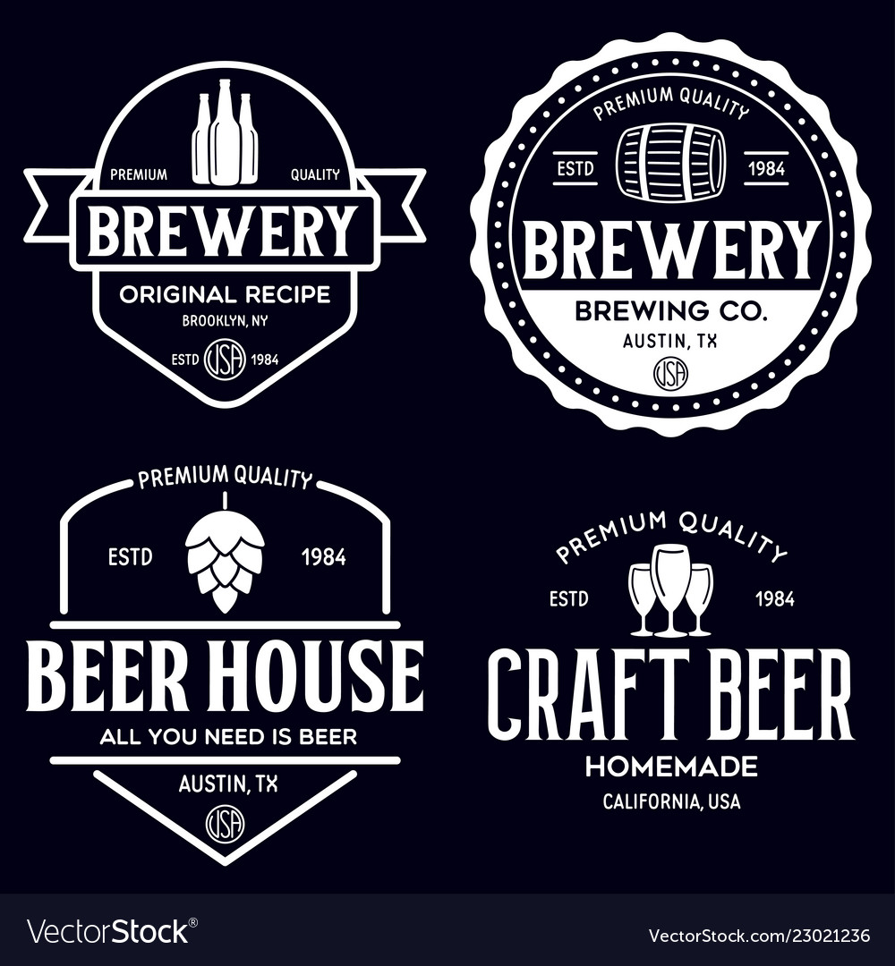 Set vintage monochrome badge logo templates