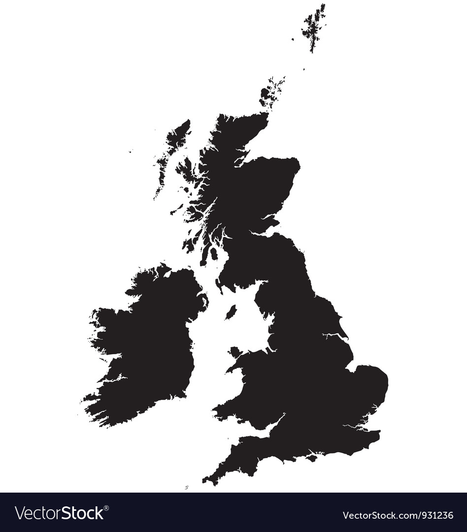 Detailed Map Of Ireland Vector.Silhouette Map Of The United Kingdom And Ireland Vector Image