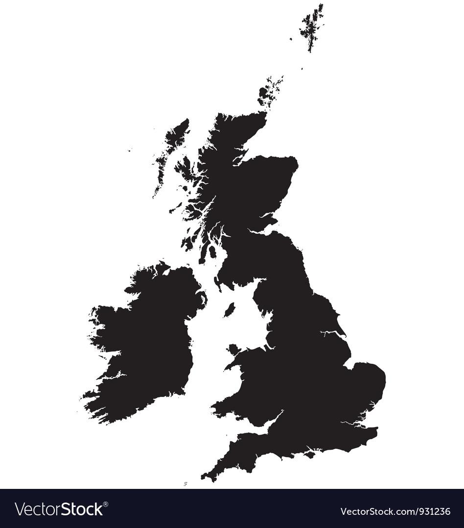 Map Of Ireland United Kingdom.Silhouette Map Of The United Kingdom And Ireland Vector Image