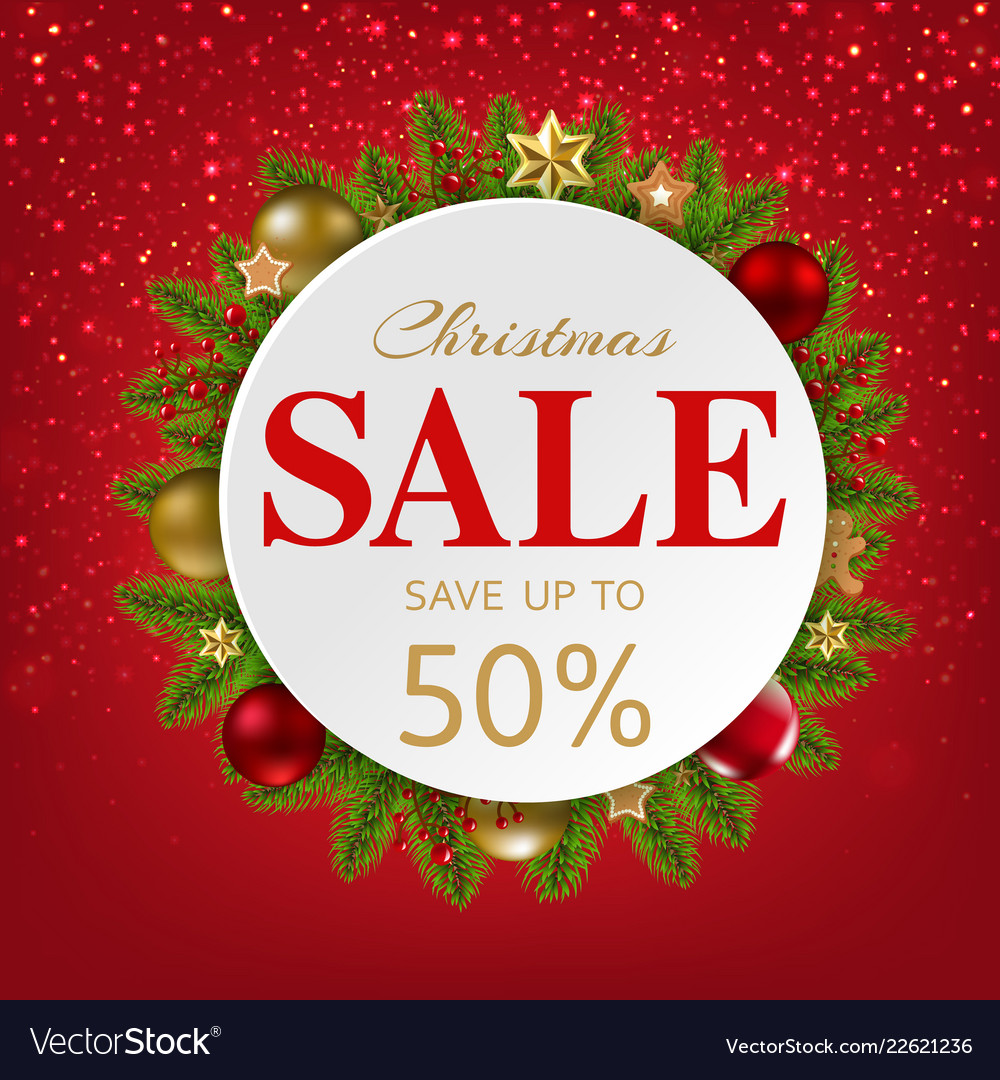 Xmas sale banner with balls and fir tree