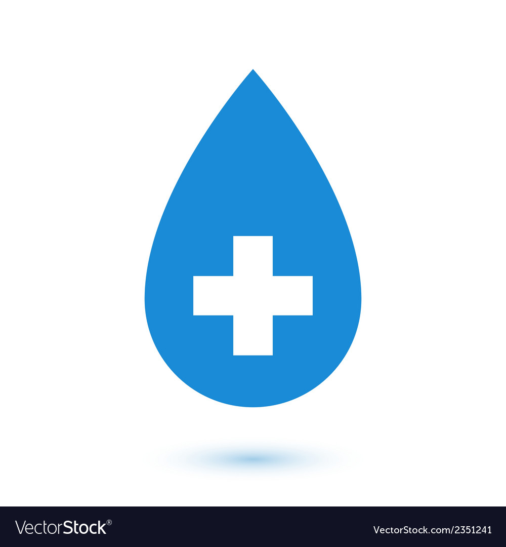 Abstract flat blue drop medical symbol vector image