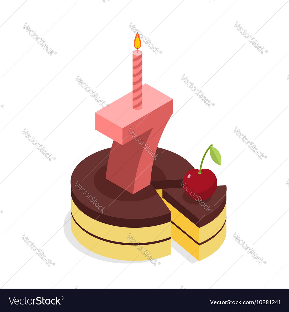 Birthday 7 years Cake and Candle isometrics Number