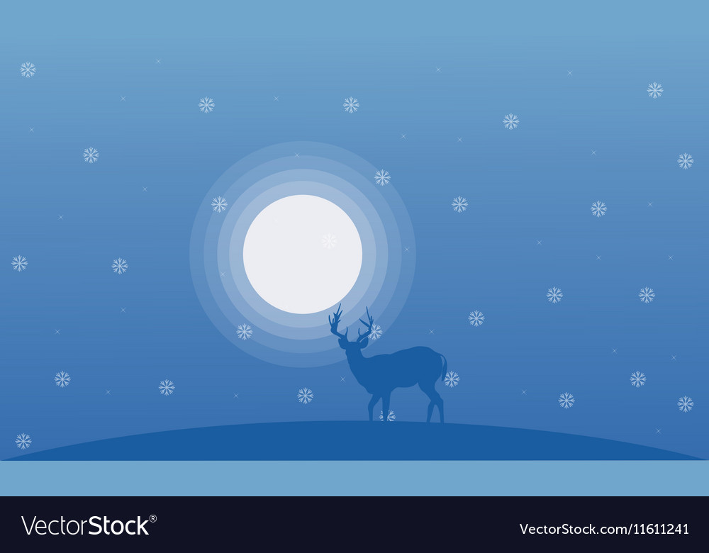 Deer at winter Christmas landscape
