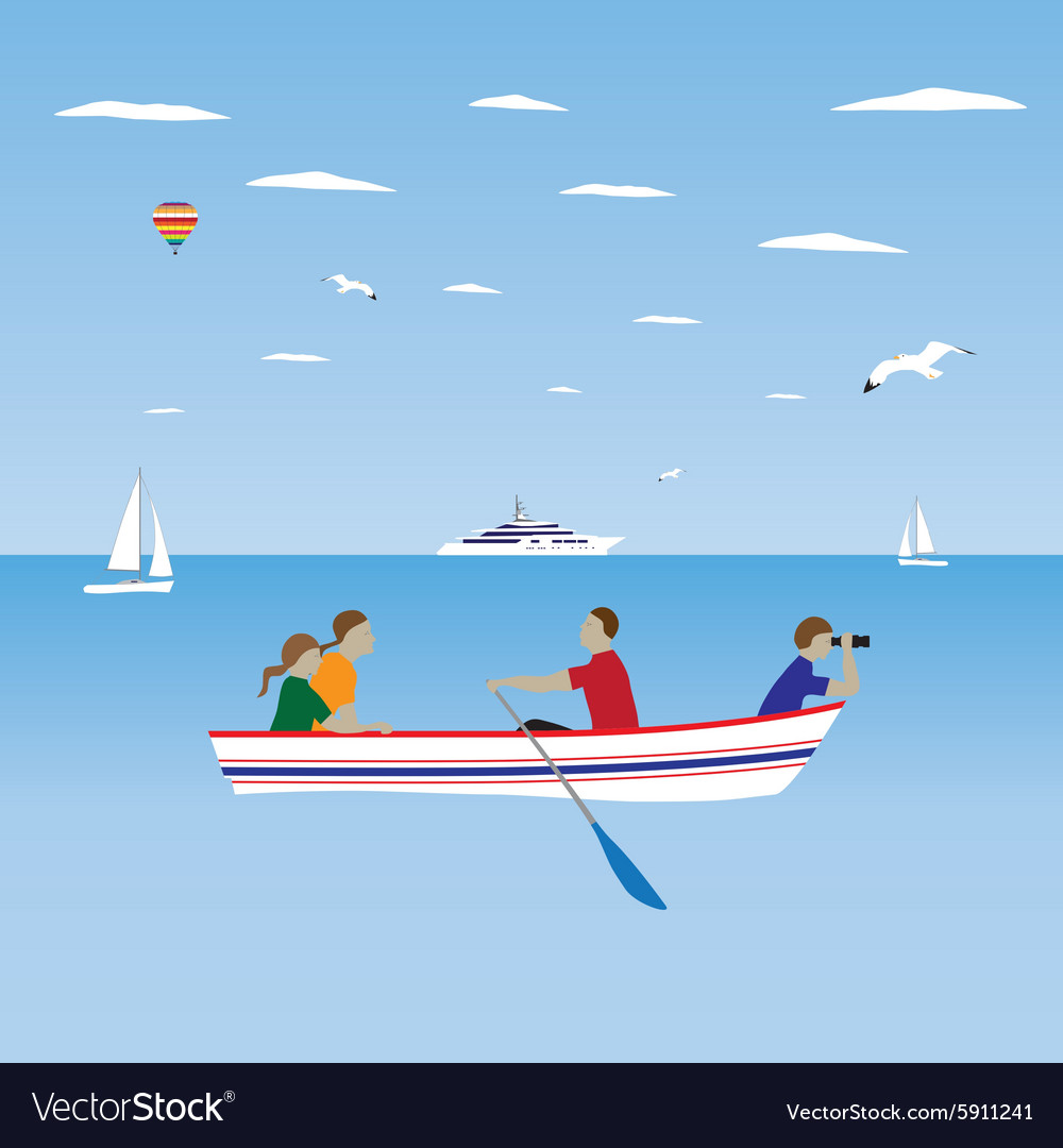 Family by the boat Family vacation vector image