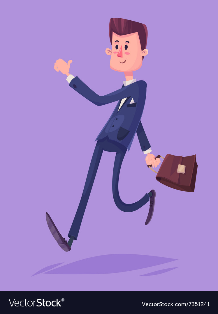 Funny business man character Isolated