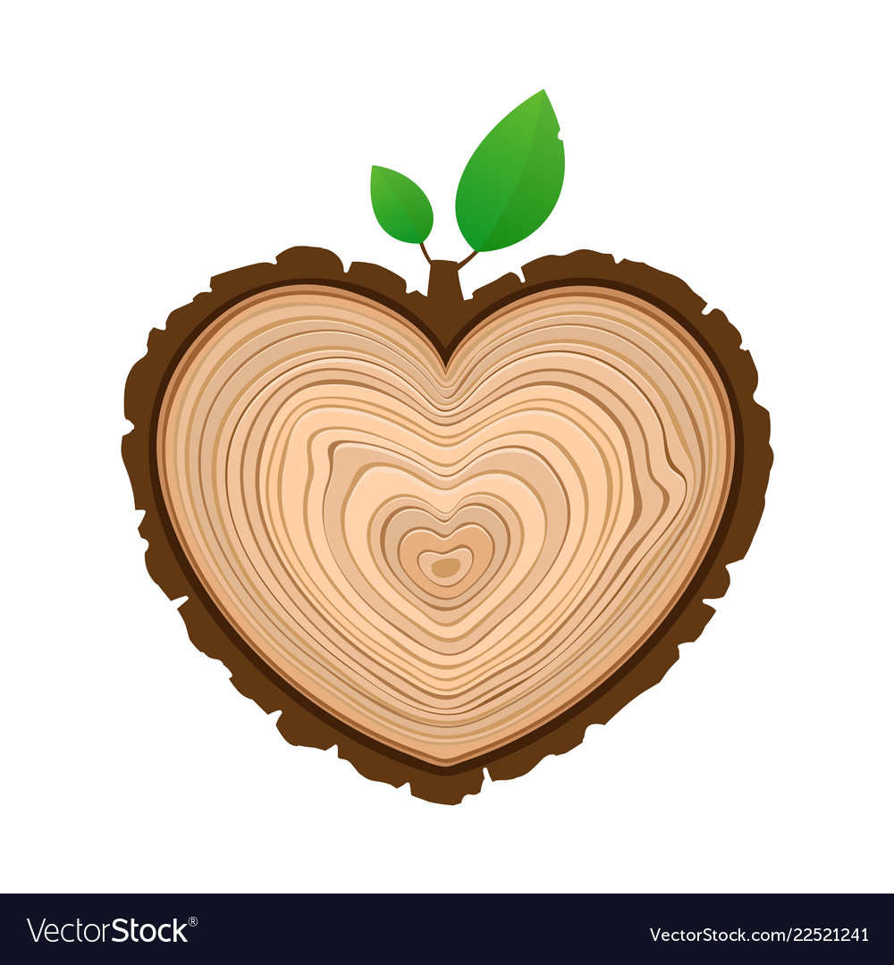 I love wood cutting tree as symbol of heart with