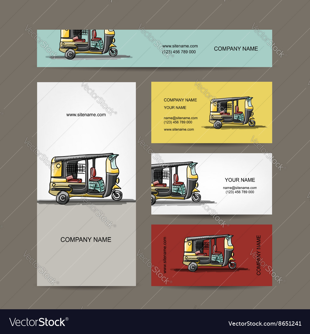 Indian taxi car business cards for your design vector image colourmoves