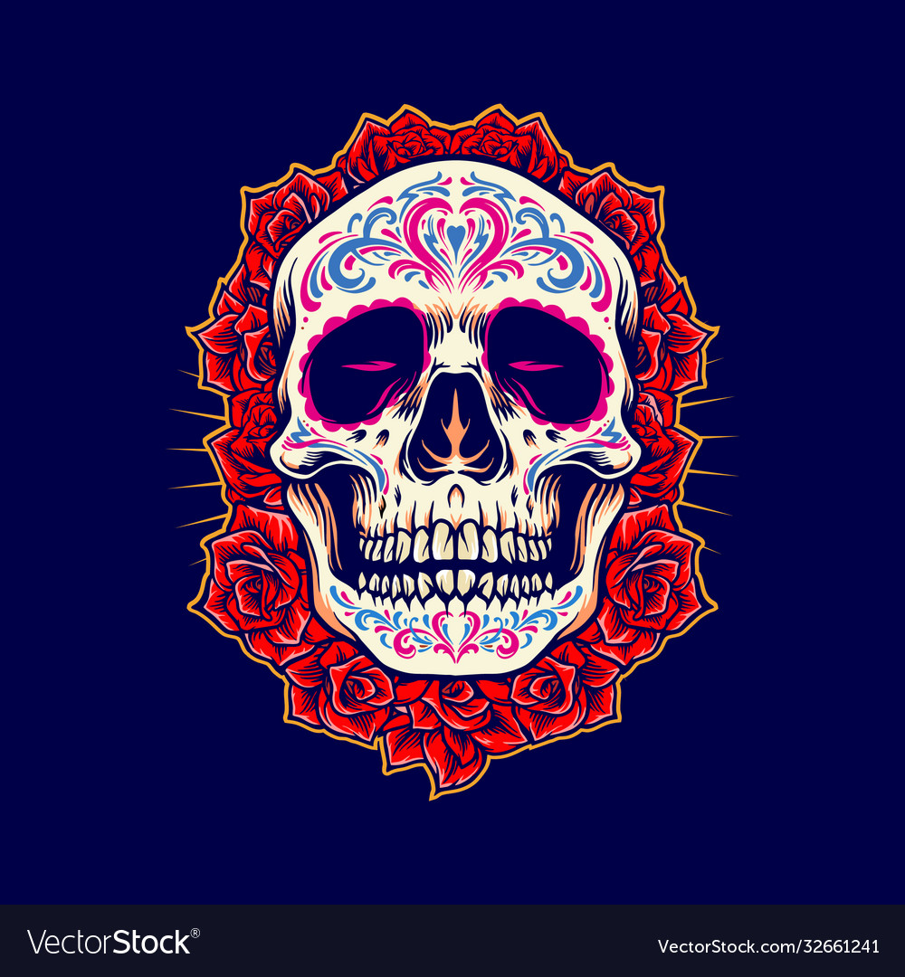 Mexican skull logo mascot with roses