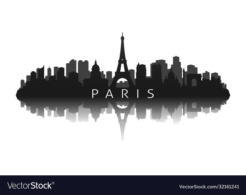 Paris skyline silhouette with reflection