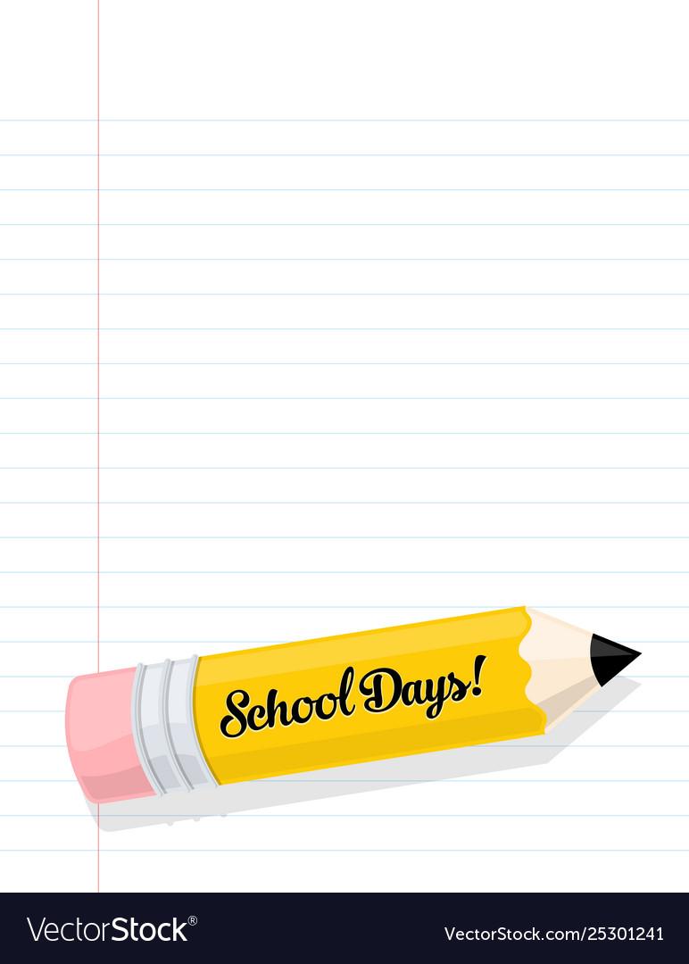 School days pencil on paper cartoon graphic