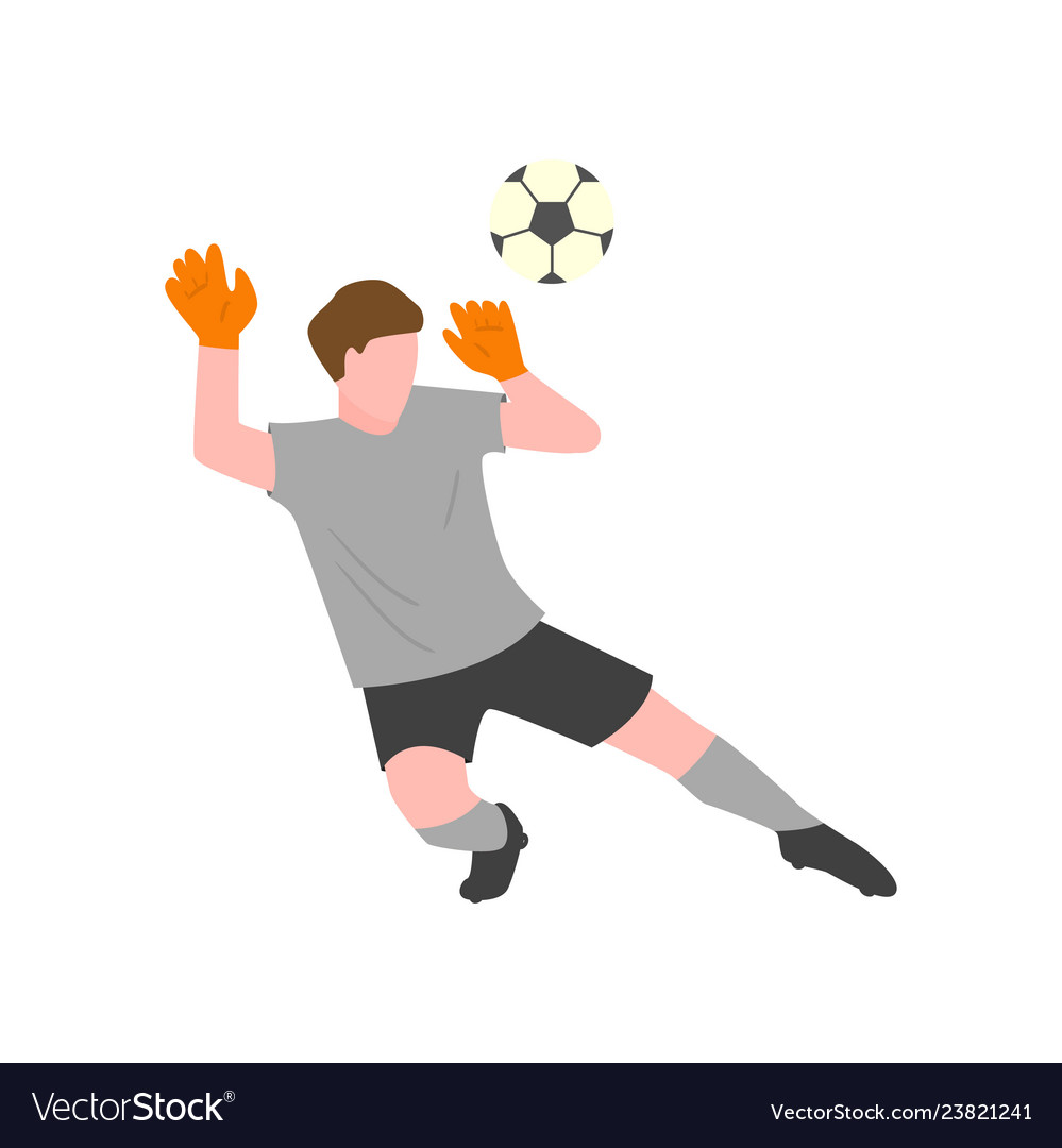 The goalkeeper in a gray uniform and gloves tries