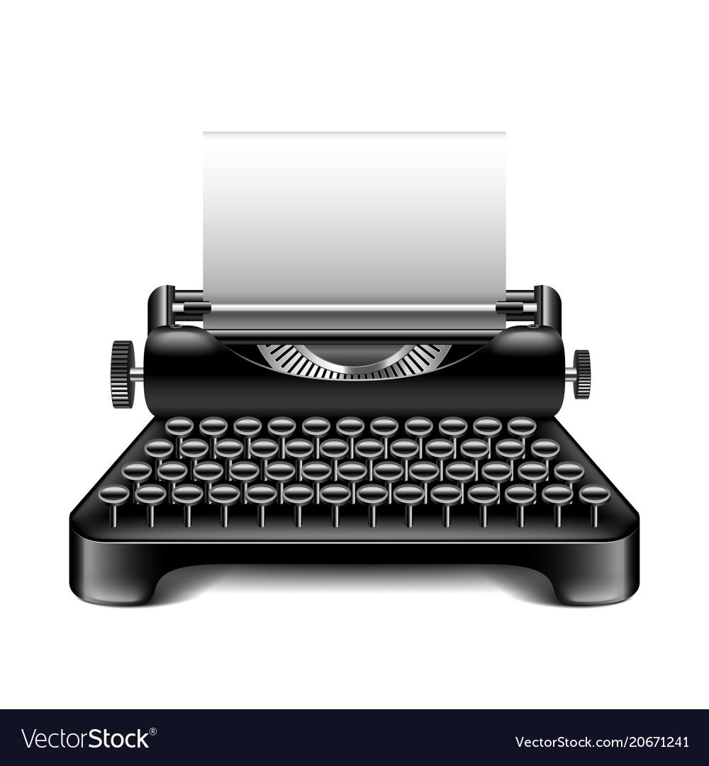 Vintage typewriter isolated on white vector image