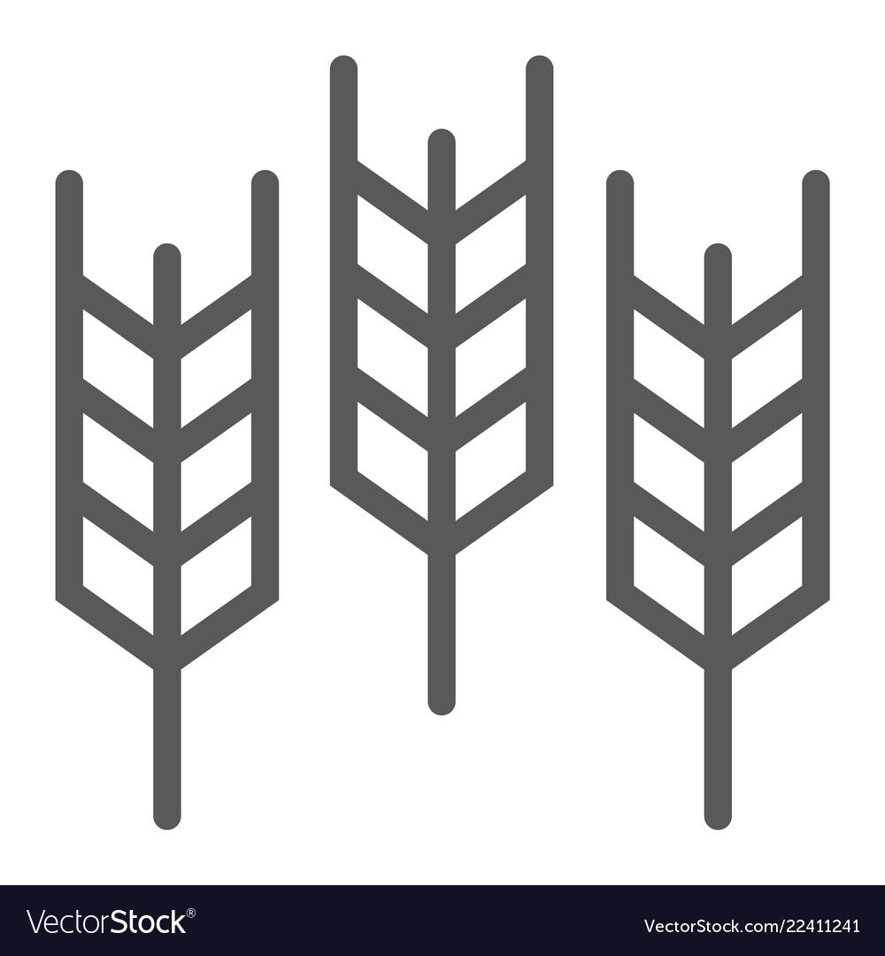 Wheat line icon grain and gluten bread sign