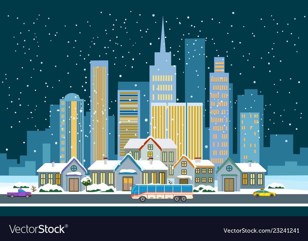 Winter cityscape flat