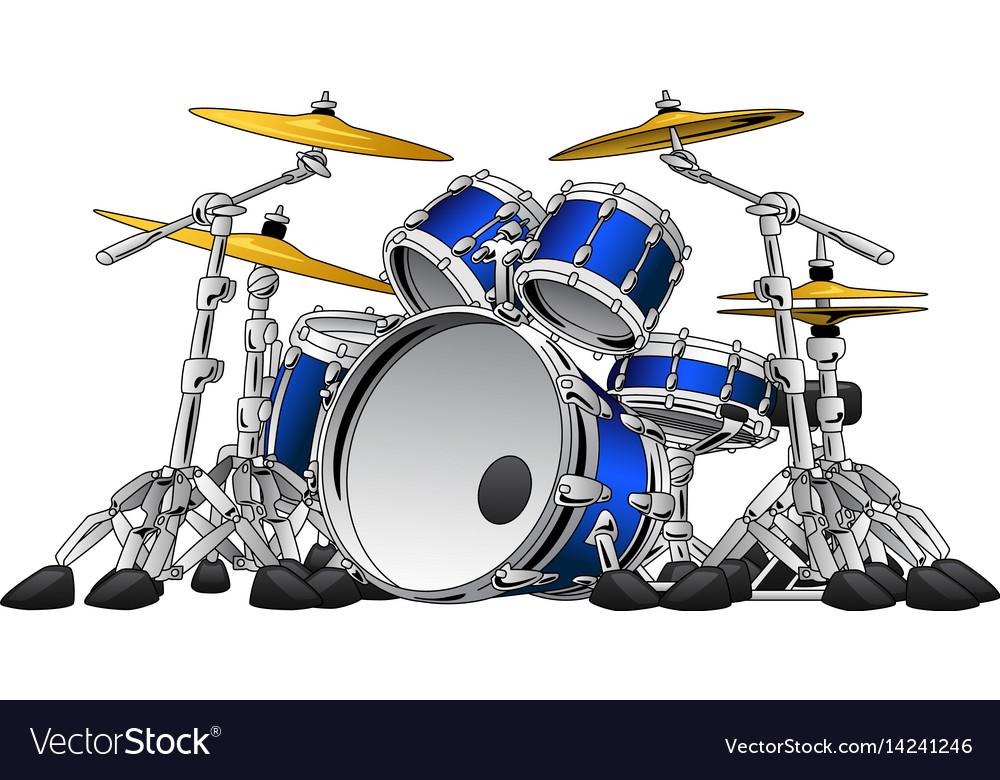 5 piece drum set musical instrument vector image