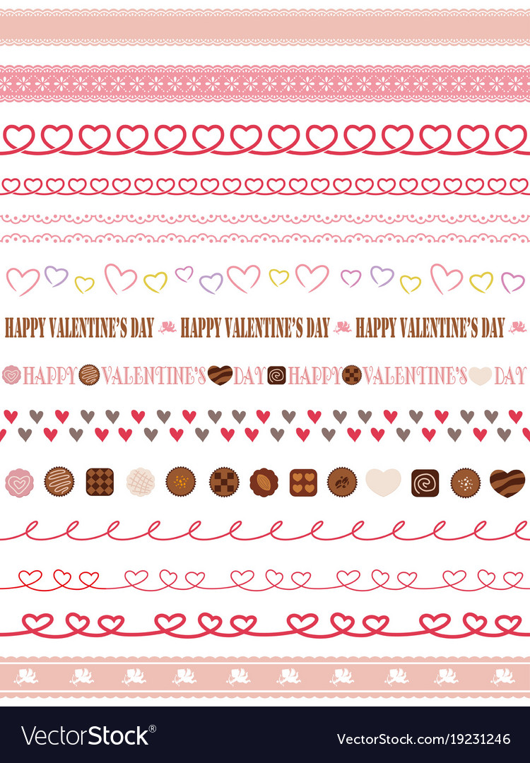 A set of seamless borders for valentines day