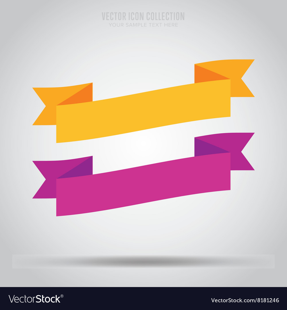 Abstract ribbon label isolated