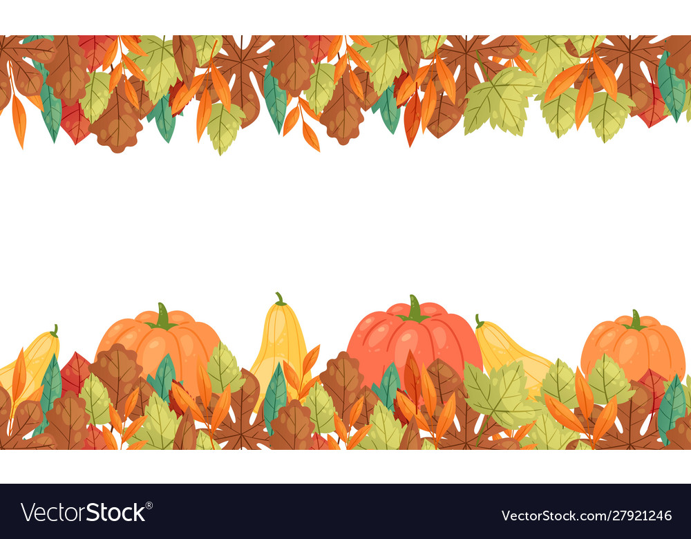 Autumn leaves and pumpkins horizontal banner