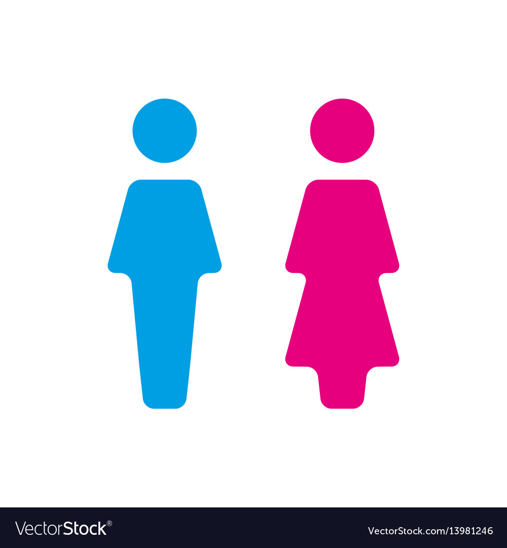 Blue and pink wc icon toilet