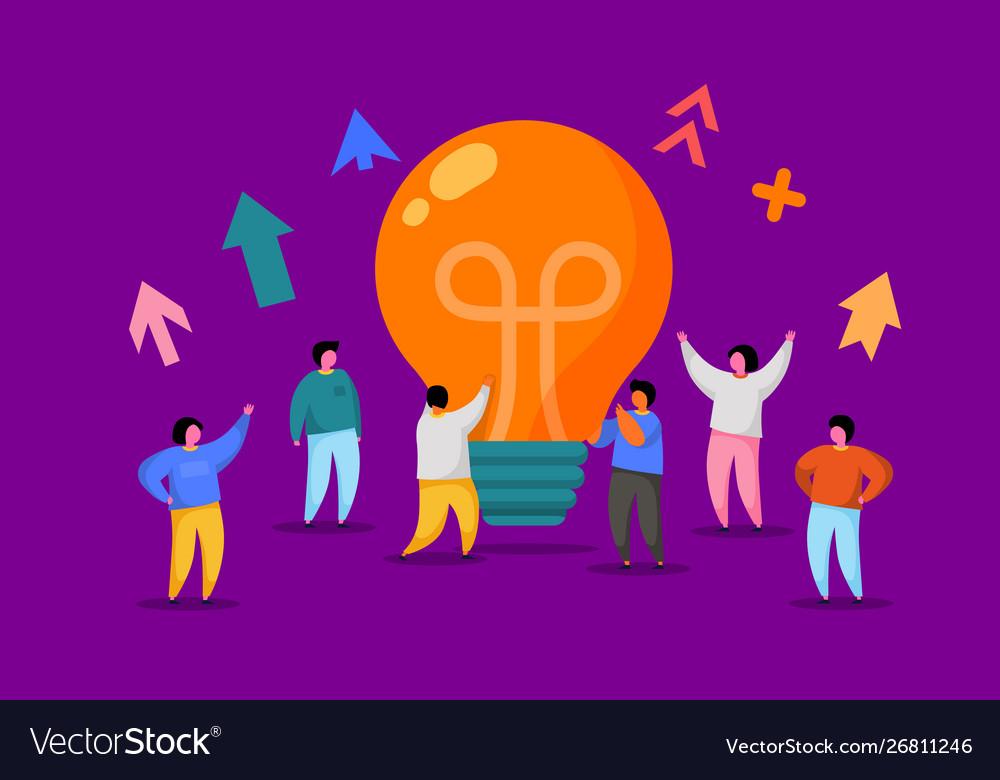 Flat people with big light bulb idea innovation
