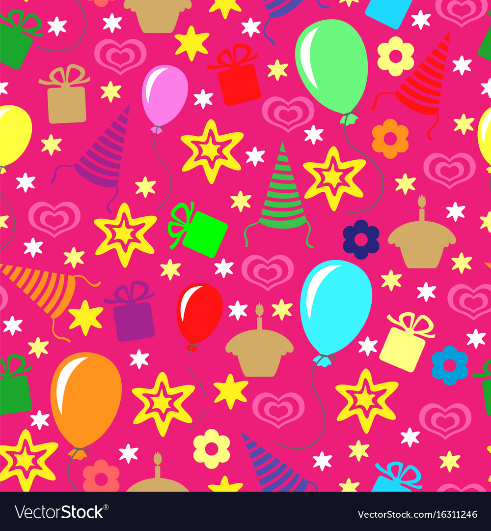 Happy birthday greeting multicolor pattern
