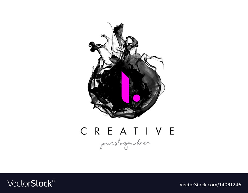 I letter logo design with ink cloud texture vector image