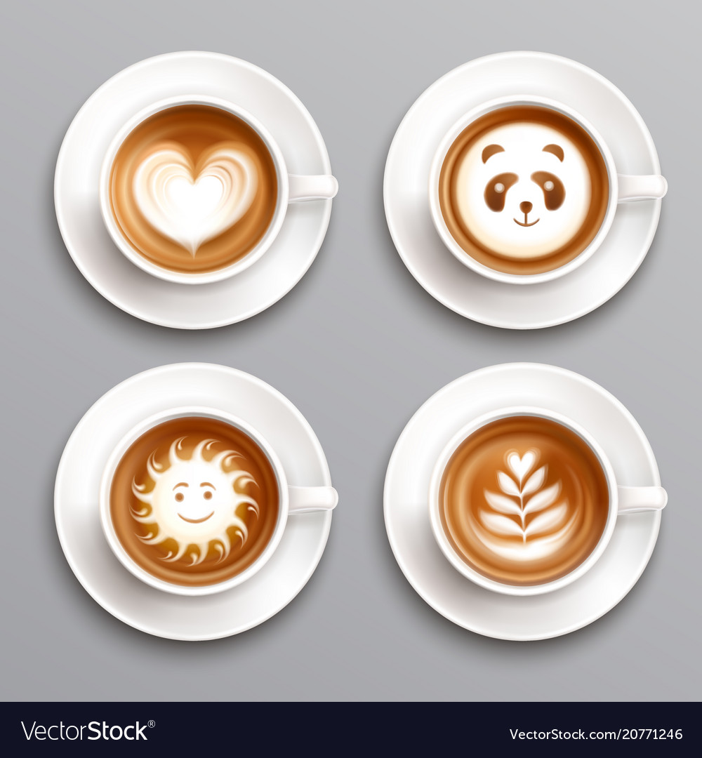 Latte Coffee Art Set Royalty Free Vector Image