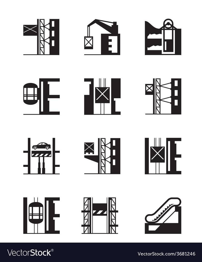 Lifts and elevators icon set vector image