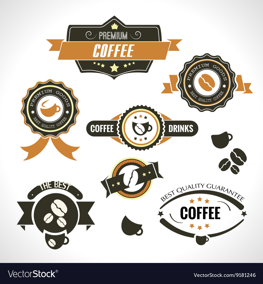 Set of vintage retro coffee badges and labels for