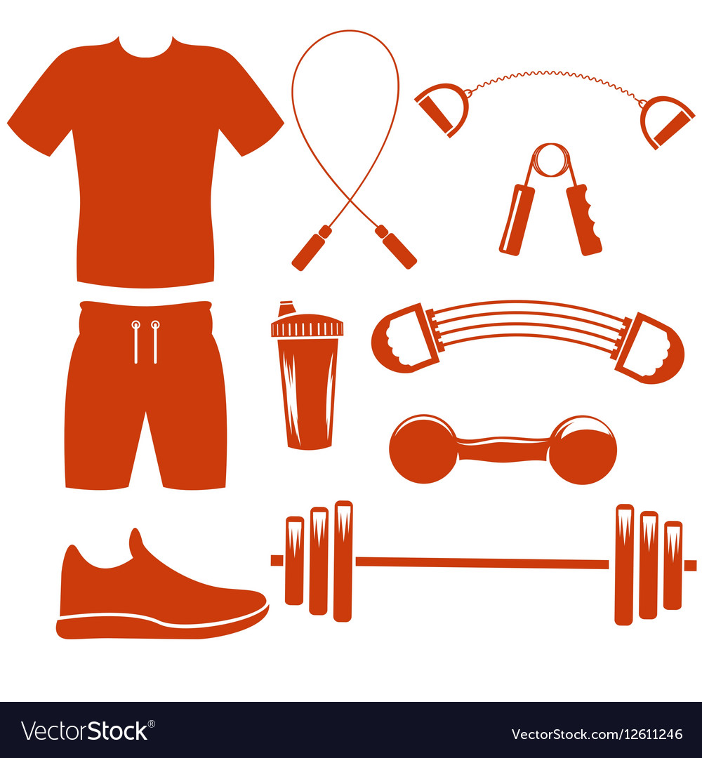 Sport equipment silhouette template