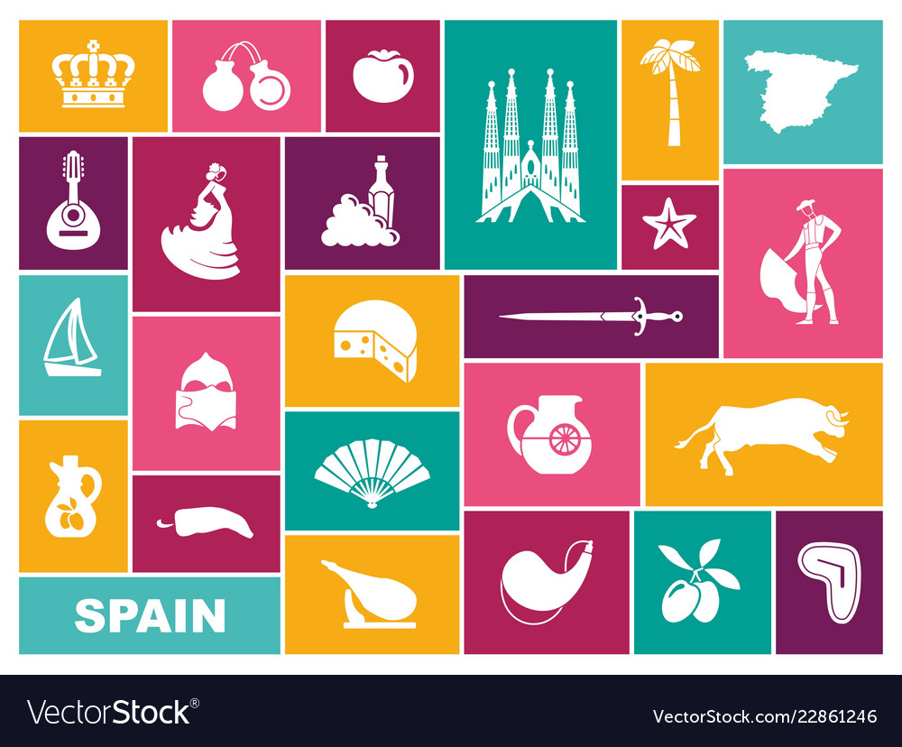 Traditional symbols of spain flat icons