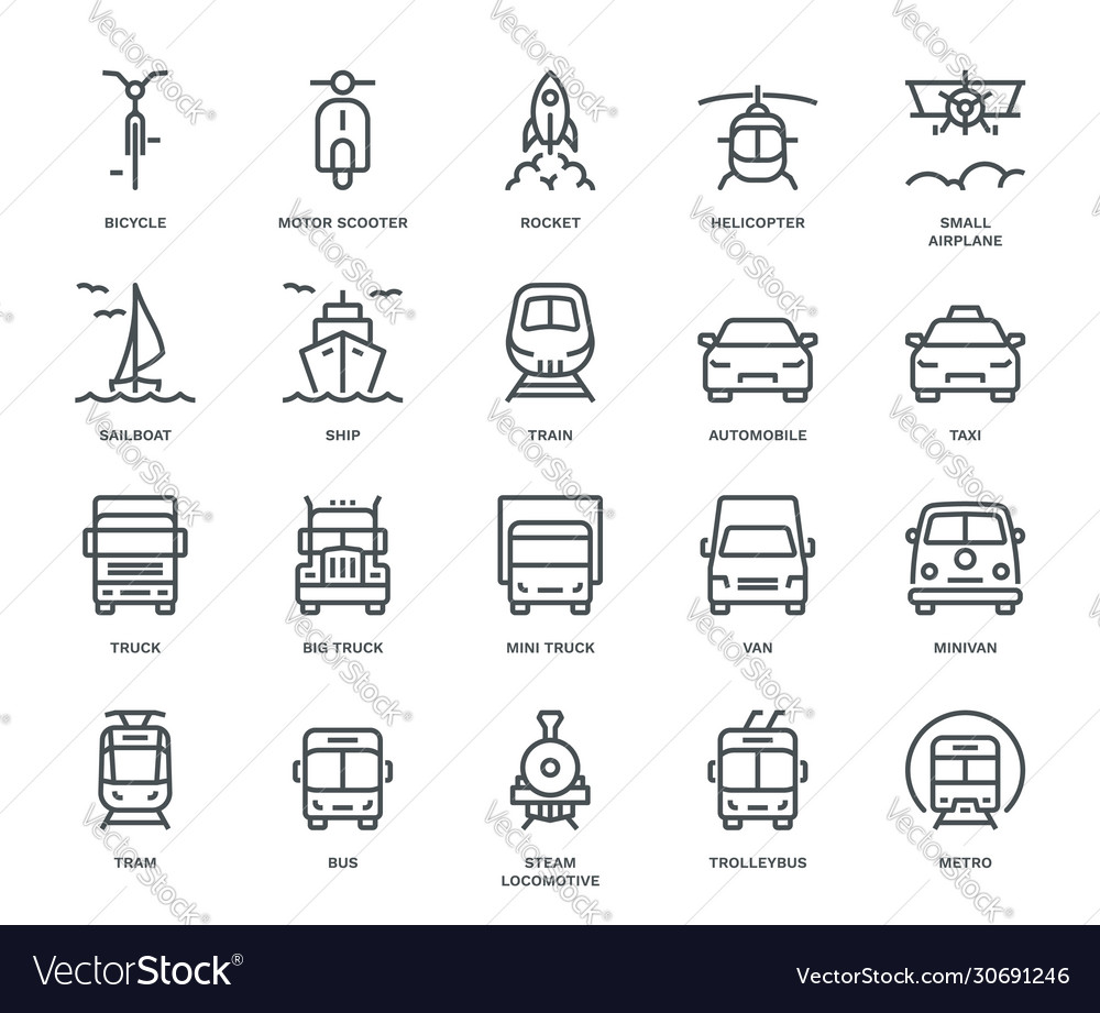 Transport icons front view part ii