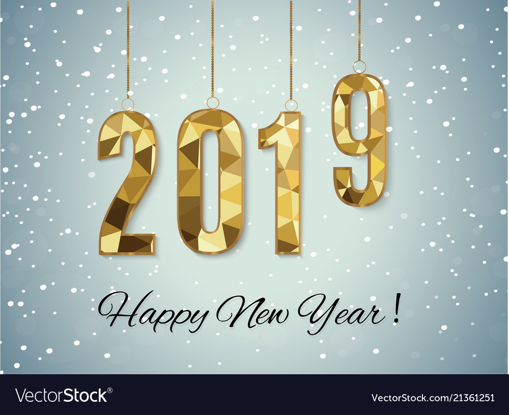 2019 golden new year sign with golden glitter and