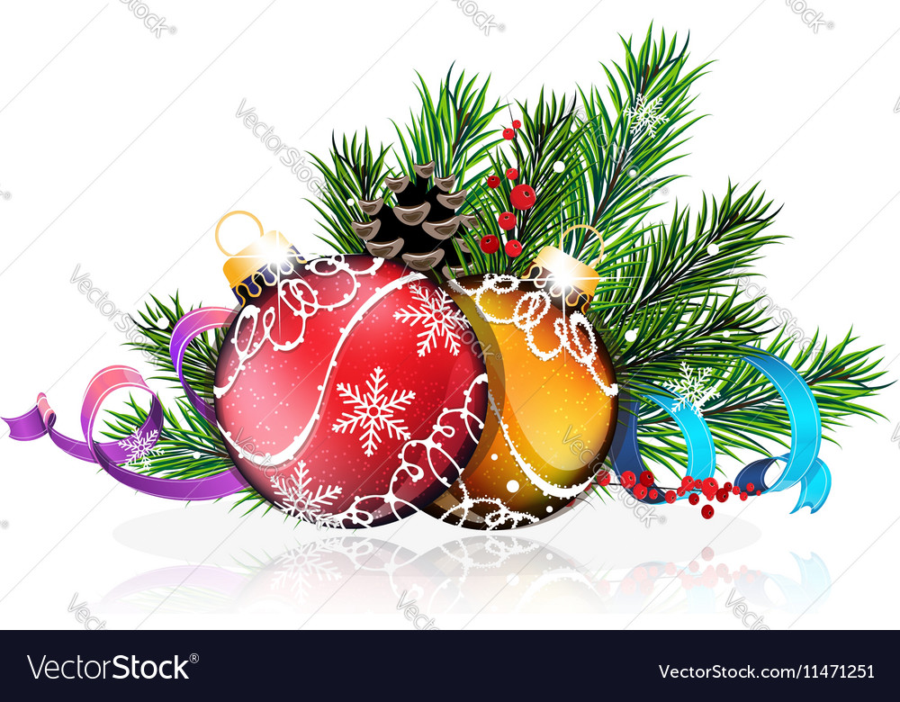 Christmas tree balls with blue and purple ribbons