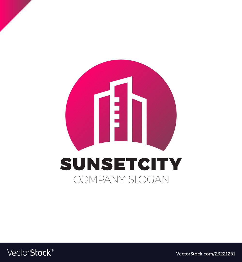 City in sun icon logo design element