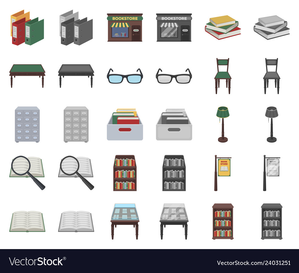 Library and bookstore cartoonmonochrom icons in