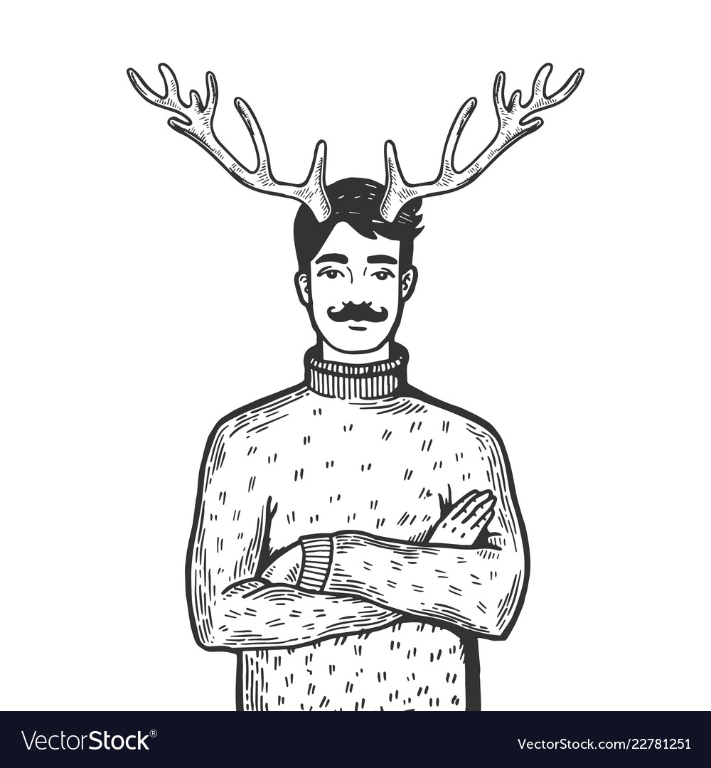 Man with deer horns engraving