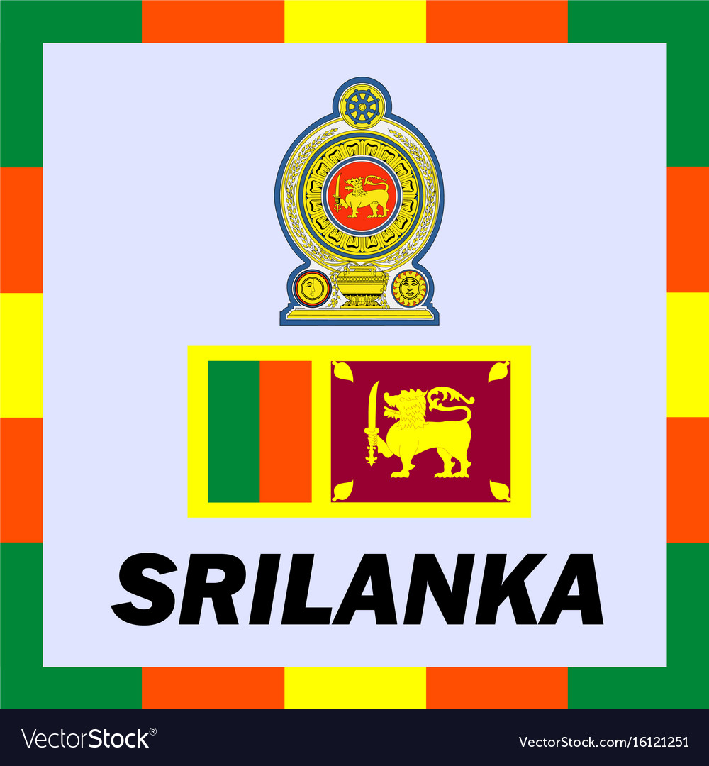 Official ensigns flag and coat of arm of srilanka