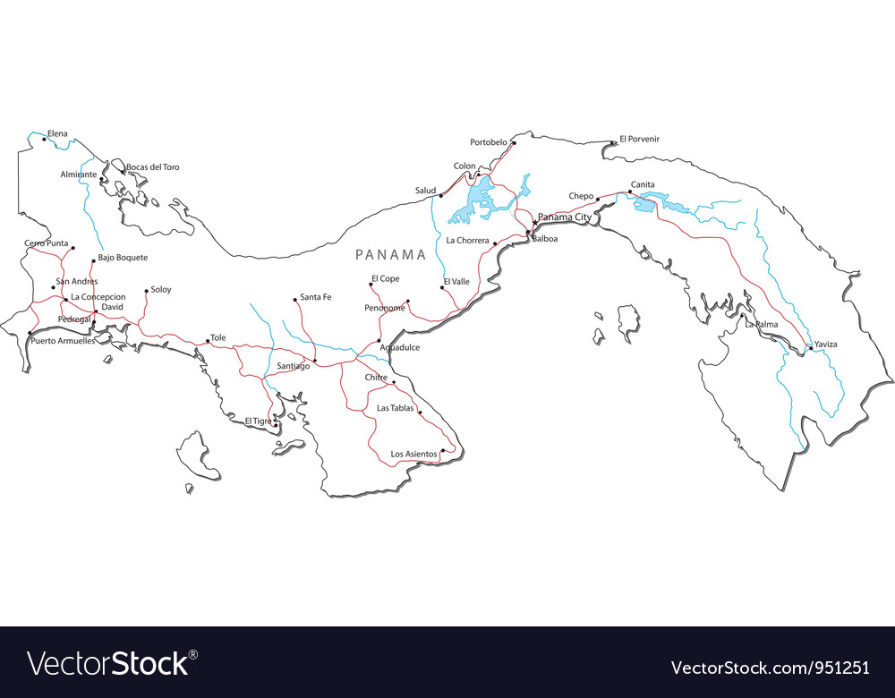Panama Black White Map vector image