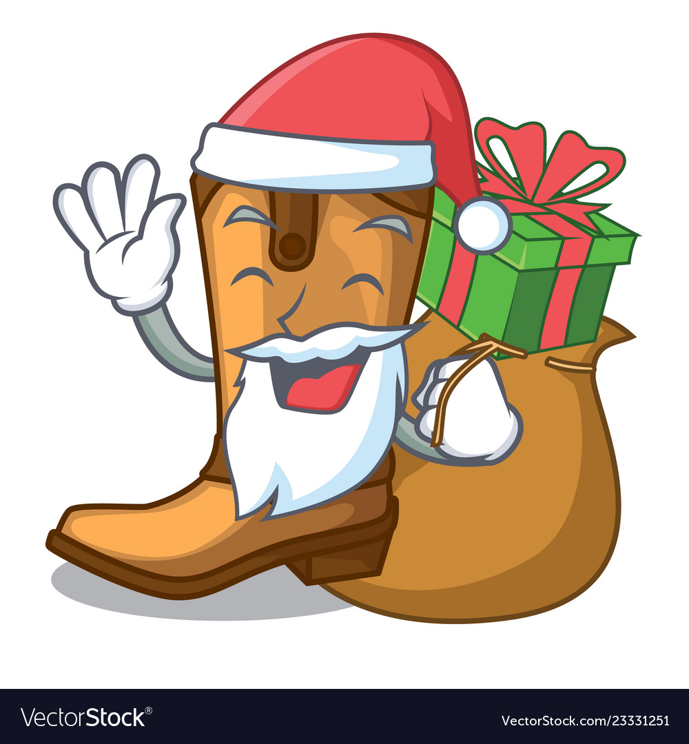 Santa with gift leather cowboy boots shape cartoon