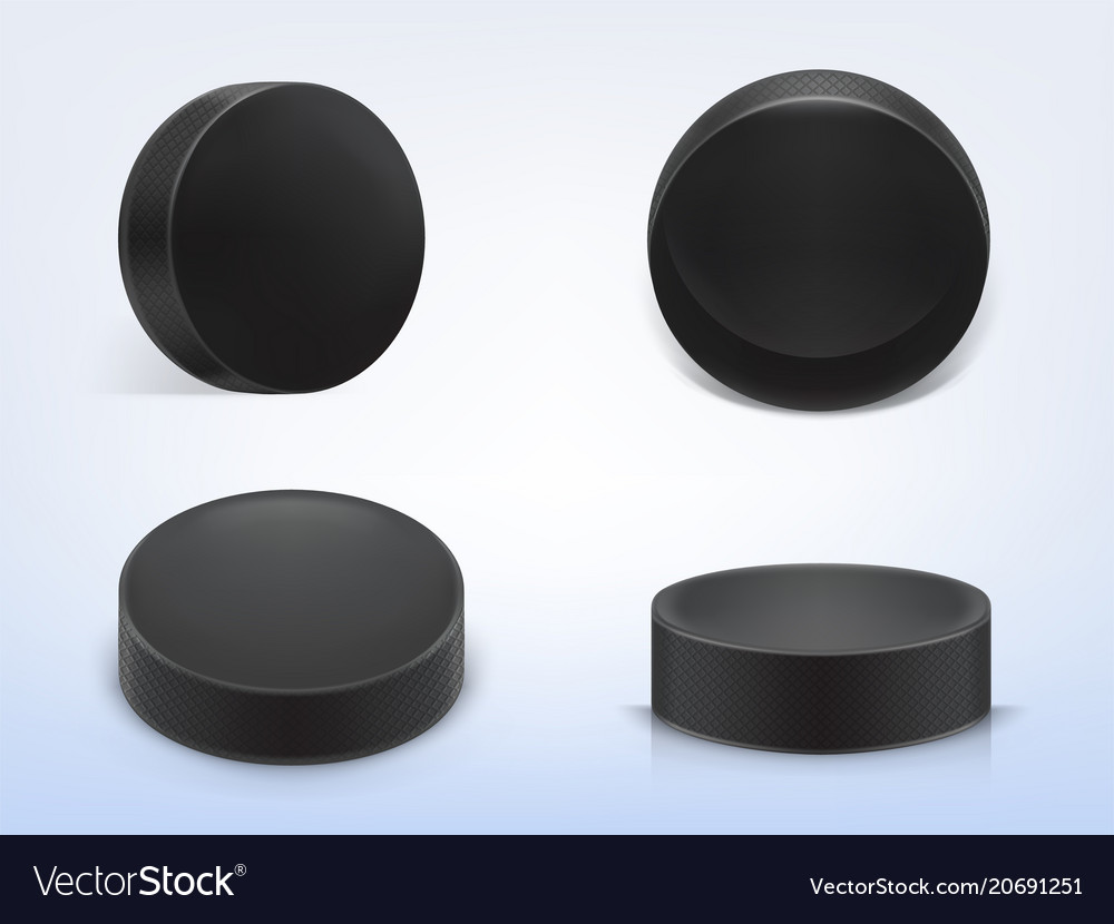 Set of black rubber pucks for play hockey